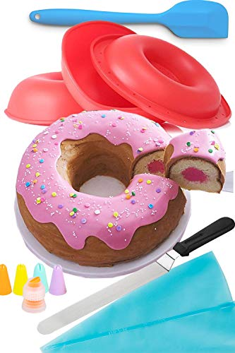 OMG Giant Donut Baking Kit - Nonstick Silicone Giant Doughnut Cake Pan Baking and Decorating Supplies Bundle. Stay Home and Bake Gift Set
