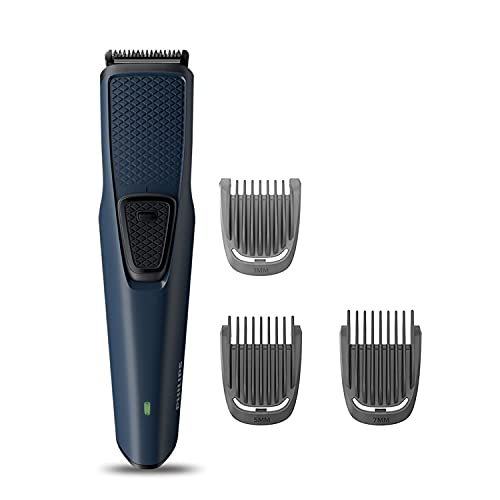 PHILIPS BT1232/15 Skin-friendly Beard Trimmer - DuraPower Technology, Cordless Rechargeable with USB Charging, Charging indicator, Travel lock, No Oil Needed, Blue