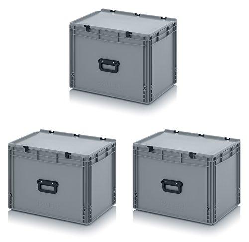 3x Eurobehälter 60 x 40 x 43,5 mit Scharnierdeckel und Griff (Tragegriff, Klappgriff) inkl. gratis Zollstock, 3er Set