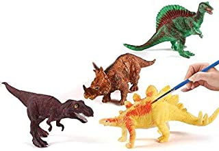 Mbaoluo Crafts for Kids Ages 4-8 - 2 Decorate Your Own Dinosaur Figurines DIY Dinosaur Arts Crafts 3D Painting Dinosaurs Toys Wooden Arts- Kids Crafts and Arts Supplies Set Painting Kit