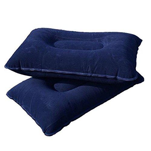 Tinksky - Cuscino gonfiabile super spesso, in tessuto floccato, da viaggio, per attività all'aperto (blu scuro)