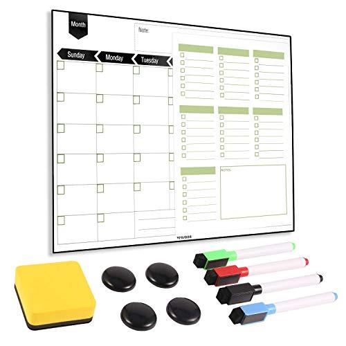 Magnetic Fridge Calendar - Dry Erase Monthly Planner & Bonus Grocery to-do List, 4 Markers, Eraser, 4 Magnets 16''x12'' for Kitchen Office