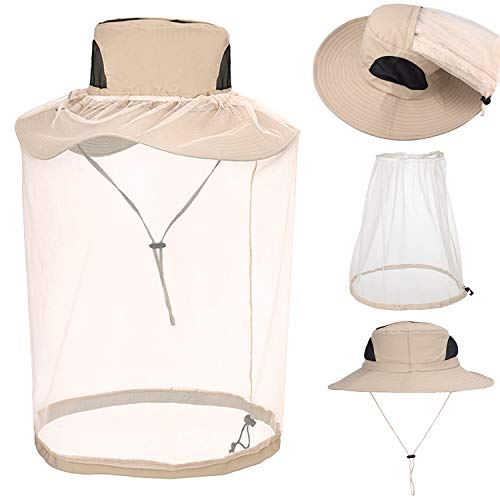 Whaline Sombrero de mosquitera extraíble, sombrero de pesca, visera ancha, protección solar con malla oculta para hombres o mujeres al aire libre (Khaki)