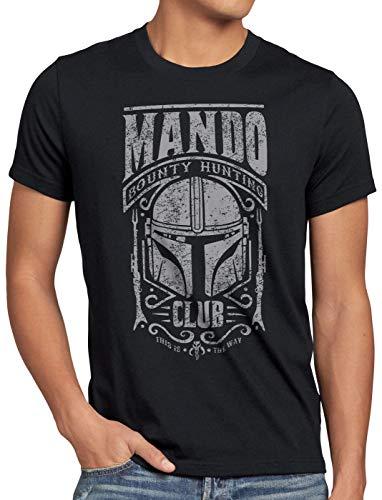 A.N.T. Mando Camiseta para Hombre T-Shirt Baby Yoda Bounty Hunter, Talla:L, Color:Negro