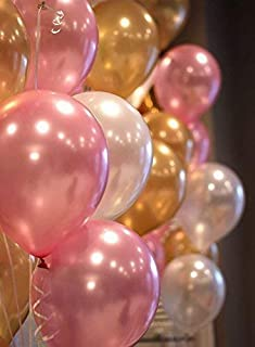 Party Propz Pink,Golden and White Metallic Balloons 50 Pcs For Birthday Decoration Or Balloons For Birthday / metallic bal...