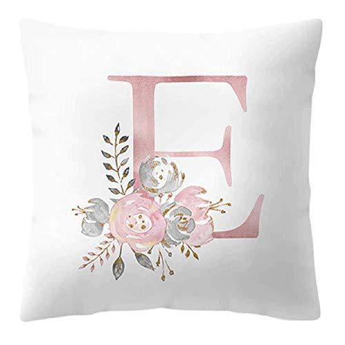Funda de cojín – 45 x 45 cm – Letra E – Inicial – Nombre – Alfabeto – Cojín decorativo – Sofá – Cama – Casa – Dormitorio – Rosa – Flores – Color blanco y rosa