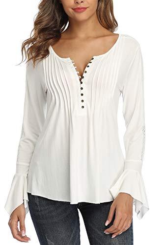 MISS MOLY Bluse Tunika Oberteile Damen Langarmshirt Sexy V-Ausschnitt Tuniken Bluse Weiß Medium