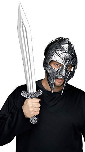 Fancy Me Herren Römischer Gladiator Krieger Soldat Kostüm Kleid Outfit Helm Hut & Schwert Zubehör Set Satz - grau, One Size
