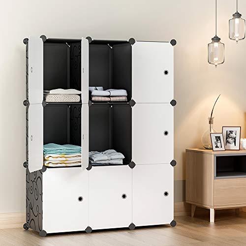 12 Cube Organizer   Set of Storage Cubes Included   DIY Closet Organizer Bins   Cube Organizers and Storage Shelves Unit   Closet Organizer for Bedroom, Playroom, Livingroom, Office, Dorm (Grey)
