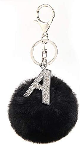 Silver Metal Alphabet Keychains Rhinestone Keyring with 3in Fur Pom Poms Women Girls Shiny Crystal product image