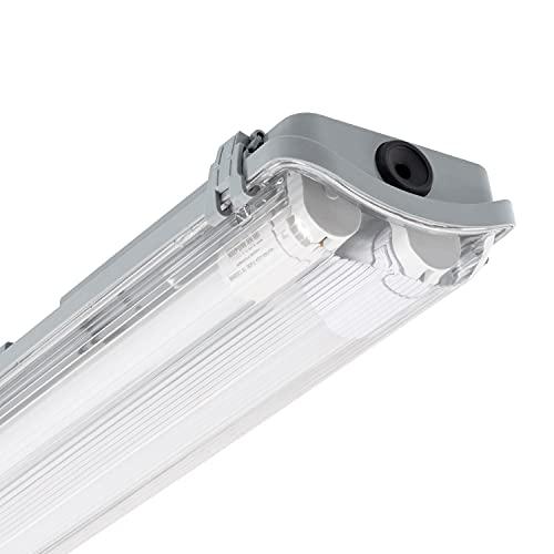 LEDKIA LIGHTING Kit Pantalla Estanca Slim con dos Tubos LED 600mm Conexión un Lateral Blanco Frío 6000K - 6500K