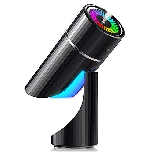 2020年進化版 & コードレス & USB充電式 加湿器 卓上 七色変換LEDライト 上下90°調整可 次亜塩素酸水対応 除菌 超音波式 ミニ加湿器 超静音 8時間連続加湿 ペットボトル 車用加湿器 小型 アロマ対応 空焚き防止 6-8畳 部屋 車載 オフィス 乾燥 花粉症対策 大容量 260ML (ブラック)