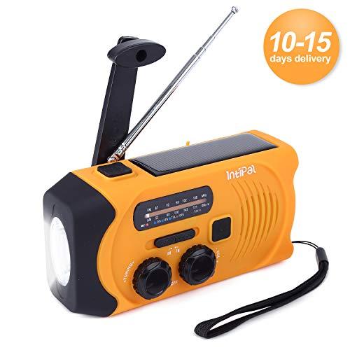 INTIPAL AM/FM Solar Radio Solarradio mit Handkurbel Kurbeldynamo LED Taschenlampe Notfall Ernstfall Powerbank USB Handy Ladegerät Camping Outdoor