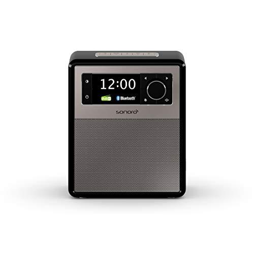 sonoro Easy DAB Plus Radio mit Bluetooth (tragbar, UKW/FM, Wecker, Sleep-Timer, LED Nachtlicht, Akku/Batterie/Netzbetrieb) Design Digitalradio Schwarz