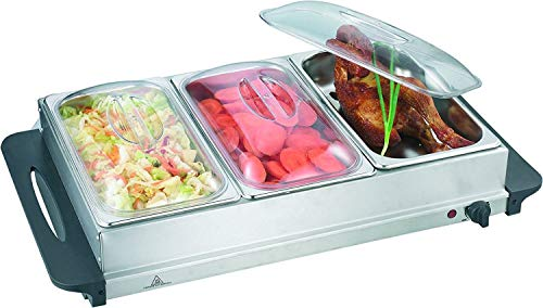 J-JATI Buffet Warmer Server - Professional Hot Plate Food Warmer Station, Easy Clean Stainless Steel, Portable & Great for Parties Holiday & Events - Max Temp 175F