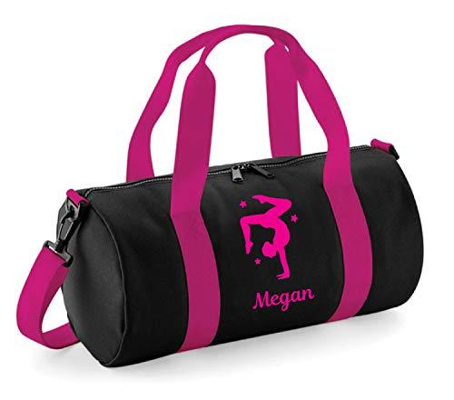 Turnbeutel für Damen und Mädchen, personalisierbar, Black & Pink / Fuchsia Pink Print, 40 x 20 x 20cm