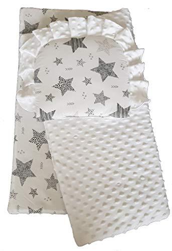 BlueberryShop Minky Juego de fundas para bebé | reversible Edredón Con Almohada Para Recién Nacidos | Para bebés de 0-12 meses| Perfecto como regalo para Baby Shower | 75 x 65 cm | Blanco Estrella