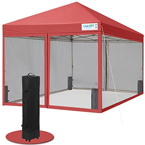Quictent Ez Pop up Canopy with Netting Instant Screen House Room Tent Mesh Sides (Burgundy, 10 Feet x 10 Feet)