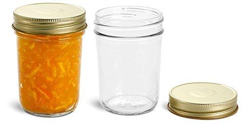 Nakpunar 6 pcs, 8 oz Mason Jars with Gold Lids for Jam, Honey, Wedding Favors, Shower Favors, Baby Foods, Canning, spices, Half Pint