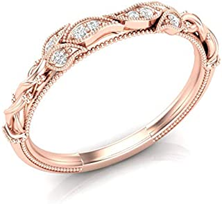 14K Rose Gold Floral Vintage Wedding Band Rope Leaf Tree Band Milgrain Band Filigree Unique Band Stackable Band For Her Diamond Band Antique Wedding Band Art Deco Band