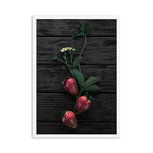 LiMengQi2 Pomodoro Melograno Mela Frutta su Tela Pittura Sfondo Nero Frutta Rossa Poster e Stampe Wall Art Cibo Immagini per Cucina (Senza Cornice)