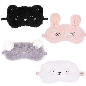 Set of 4 Cute Animal Sleeping Eye Mask Koala Dog Rabbit Cat Soft Eyeshade Eyepatch Sleep Eye Cover for Napping Rest Party Travel