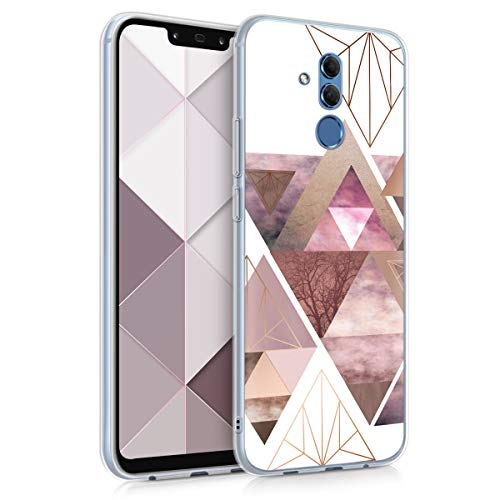 kwmobile Cover Compatibile con Huawei Mate 20 Lite - Back Case Custodia in Silicone TPU Cover Trasparente Fantasia Triangolare Rosa/Oro Rosa/Bianco