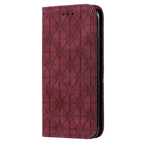 Bear Village Coque iPhone XR, Portefeuille Étui en Cuir Protection avec Porte Cartes et Fonction de Support, Magnétique Coque pour iPhone XR, Rouge