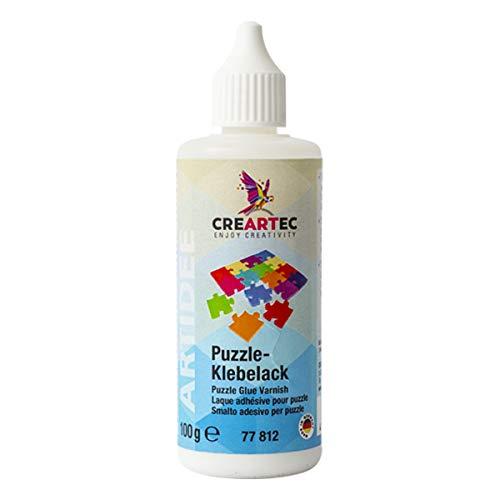 CREARTEC Puzzle - Klebelack - glänzend - Überziehen von Puzzlebildern - Kunststoffflasche mit Maldüse - 100g - Made in Germany