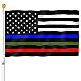 Thin Blue Red Green Line American Flag 3x5 Outdoor- Heavy Duty Police Firefighter Military Army Fireman USA Flags Blue Red Green Lives Matter Stripe Flag with Grommets