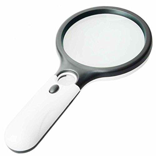 LED Light 45X Magnifying Glass Lens Mini Glass Magnifier LED Handheld Mini Pocket Microscope Reading Jewelry Loupe Glass