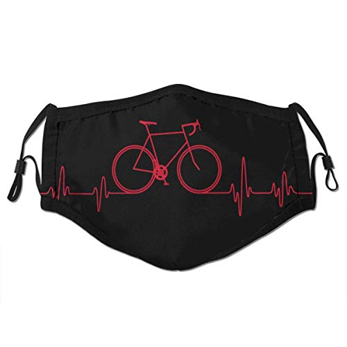YnimioHOB UnisexNoseClipFaceMouthCover3DPrint,Bike Heartbeat Cycling Mountain Bike WoTravel Outdoor Washable Reusable Mouth FaceBandanasfor MenWomenTeens