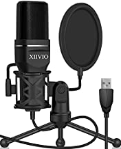 USB Microphone,XIIVIO Computer Microphone for PC Gaming Condenser Mic with Tripod Stand and Pop Filter for Recording Voice Over, Streaming Twitch,Podcasting,Compatible with Desktop Laptop Computer