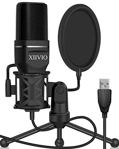 XIIVIO - Micrófono de Condensador para Videojuegos con conexión USB, con Soporte de trípode y Filtro para Mac/Windows, grabación de Voz en el Exterior, transmisión de transmisión/podcasting/Youtube