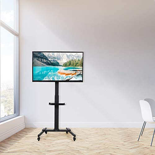 VIVO Black Mobile TV Cart for 32 to 55 inch LCD LED Plasma Flat Panel Screens, Rolling TV Stand with Wheels STAND-TV05L Photo #5