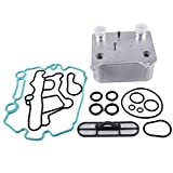 Compatible For Ford Powerstroke Diesel 6.0L V8 F250 F350 F450 F550 Super Duty/Excursion / E350 E450 2003-2007 Engine Oil Cooler Kit 3C3Z-6A642-CA (Viton Gasket Seal Kit Included)