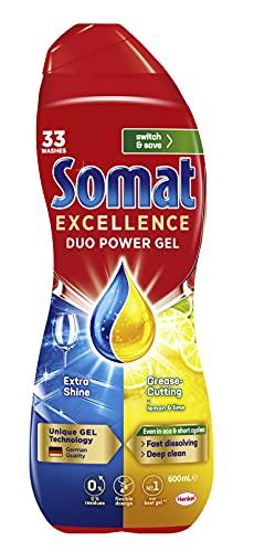 Somat Excellence Duo Power Dishwasher Gel (33 Washes / 600mL), Fast Dissolving Dishwashing Liquid for Clean Dishes, Zero Residue Dishwasher Detergent, Lemon