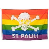 Regenbogen-Flagge Motiv St. Pauli Totenkopf 150x100 cm von St. Pauli