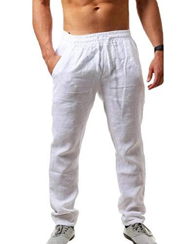 Tomwell Algodón Lino Pantalones Harem Casual Hombres Jogger Pantalones Hombres Pantalones de Fitness Estilo Chino Tradicional Harajuku 07 Blanco XL