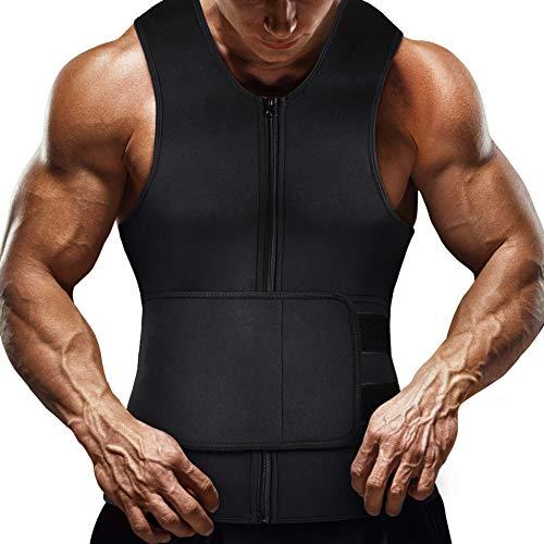 Lechiry Men Neoprene Waist Trainer Sweat Sauna Vest DoubleCompression Adjustable Trimmer Belt Body Shaper with Zipper (Black, M)