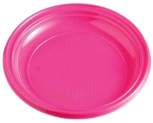 1-PACK Teller Partyteller magenta aus PS, rund Ø 22 cm, 10 Stück