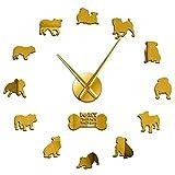 xinxin Reloj de Pared Gran Bulldog británico Reloj de Pared de Gran tamaño DIY Arte de Pared de guardería Bulldog inglés Cachorro Animales de compañía Reloj de Pared con Superficie de Espejo