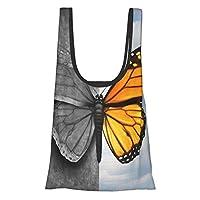 美しい蝶 エコバッグ 折りたたみ 買い物袋 ショッピングバッグ コンビニバッグ コンパクト 繰り返し使用 軽量 大容量 収納 オシャレ