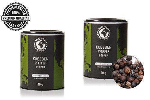 Kubebenpfeffer - World of Pepper - 2x 40g - schwarze Pfefferkörner - Schwanzpfeffer aus Indonesien - Premium Qualität mit Zufriedenheitsgarantie