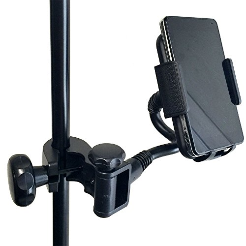 AccessoryBasics Music Mic Microphone Stand Smartphone Mount w/Multi Angle 360° Swivel Adjust Holder for Apple iPhone 12 11 XR XS MAX Pro Samsung Galaxy S20 S21 Note Google Pixel XL LG V30 Phones