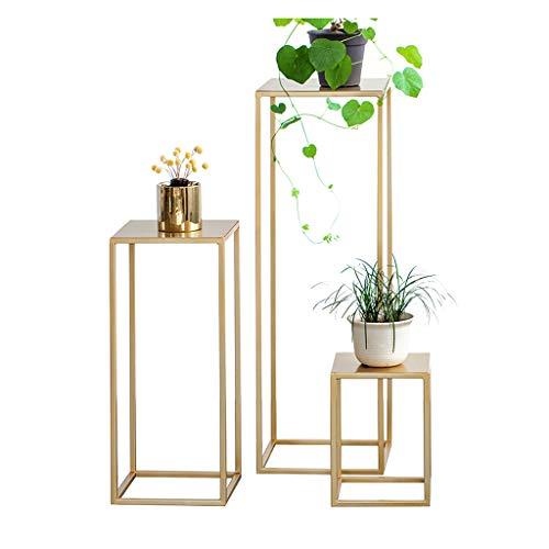 DQ - étagère Tables d'appoint Décorations, métal Noir/doré, Ensemble de 3, 30/60 et 90 cm de Haut - Tables gigognes - Tables Basses - Tables de Plantation