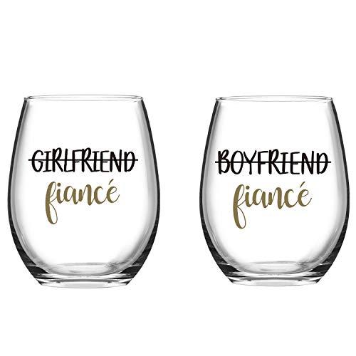 Boyfriend and Girlfriend Wine Glass –Set of 2 Fiance Stemless Wine...