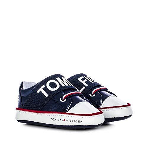 Tommy Hilfiger Baby Krabbelschuhe Schuhe Lauflernschuhe Jungen Sneaker T0B4-30683-0908800 blau (Numeric_18)