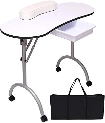 Dljyy Quieting Professionele opvouwbare beweegbare manicure-nagel-kunst-schoonheid-salon-tafel schrijftafel wit met draagtas