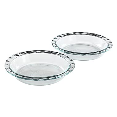 Pyrex Easy Grab 9.5  Glass Pie Plate, pack of 2